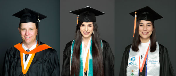 From left to right, Robert Ferguson, Lana Hussein, and Crystal Fernandez-Peña.