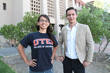 Gilman Scholarships went to 10 UTEP students who will study abroad this summer and fall. Ana Guzman, left, a senior civil engineering major, will go to Istanbul this summer, and Pedro Garcia, a junior political science major will visit Amman, Jordan, this fall.