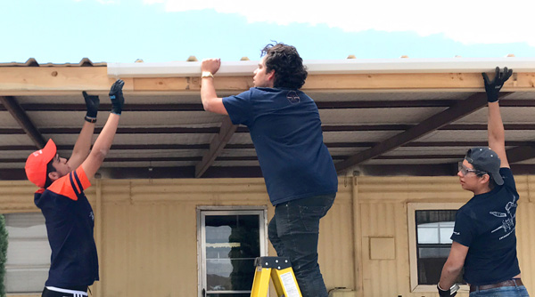 UTEP students help install a rainwater harvesting system at a home near Presidio, Texas. Along with honing their technical skills, the students learned about cooperation and project coordination.