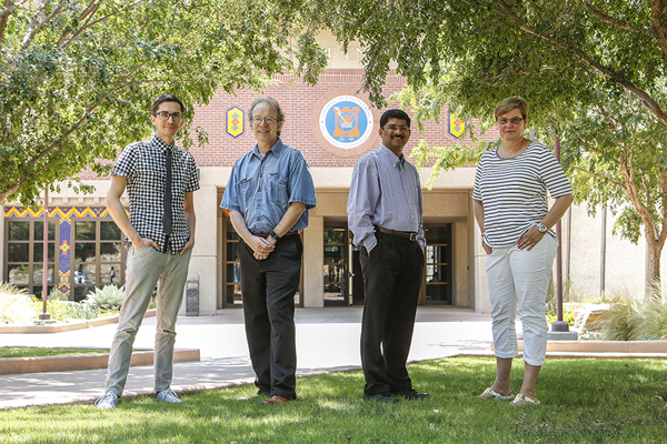 From left, Skye Fortier, Ph.D., assistant professor in the Department of Chemistry and Biochemistry; Thomas Boland, Ph.D., professor of metallurgical, materials and biomedical engineering; Ramana Chintalapalle, Ph.D., professor of mechanical engineering and the new UTEP PREM center's director; and Katja Michael, Ph.D., associate professor in the Department of Chemistry.
