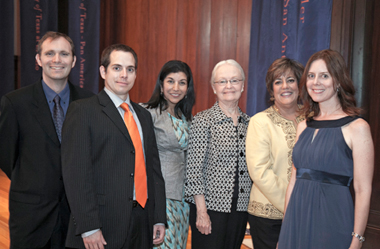 From left Brian Yothers, Ph.D.; Jose Villalobos, Ph.D.; Gita Upreti, Ph.D.; UTEP President Diana Natalicio; Ivonne Santiago, Ph.D.; and Amy Wagler, Ph.D.