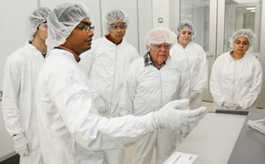 Guests suited up in special gowns and were treated to an inside look at the new Nanofabrication Facility, also known as the 'clean  room,' during the official opening Thursday, Sept. 18.