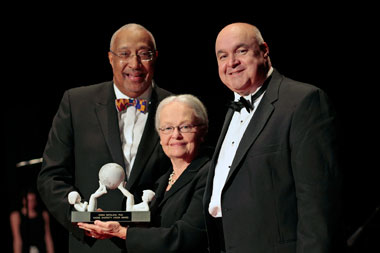 From left: Dr. Irving Pressley McPhail, President and Chief Executive Officer, NACME; UTEP President Diana Natalicio; and Mark E. Russell, Vice President, Engineering, Technology and Mission Assurance, Raytheon Company, and NACME Board Chairman