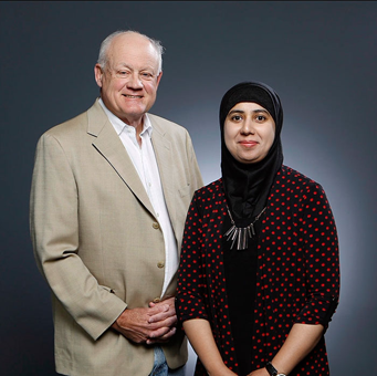 Adeeba Raheem, Ph.D., clinical assistant professor in the Department of Civil Engineering and Austin Marshall, J.D., clinical professor in the department